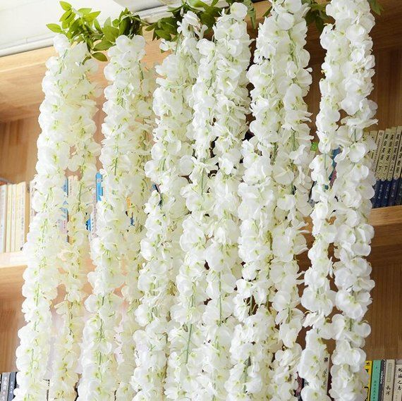 Wedding Arch Garland White Wisteria Silk Flower Home