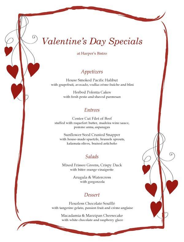 Romantic Ideas for Valentineu0027s Day Menu - dessert menu template
