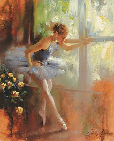 Ballerina by the window (lovely brushwork and pastel colouring) - Richard S. Johnson