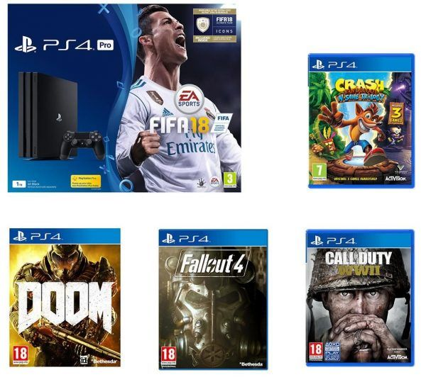 Get a PS4 Pro with FIFA 18, Crash Trilogy, Call of Duty: WW2, Doom, and Fallout 4 for £339
