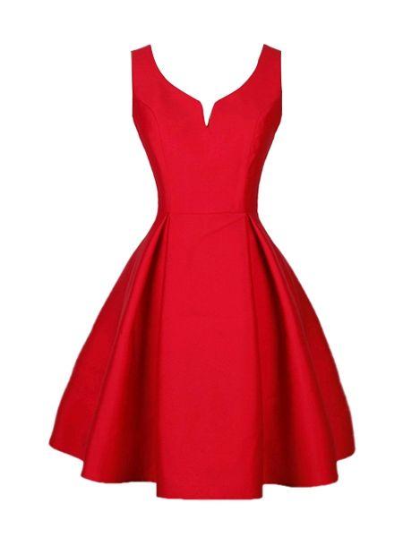 Pure 4 Colors Designed V Neck Skater Dress