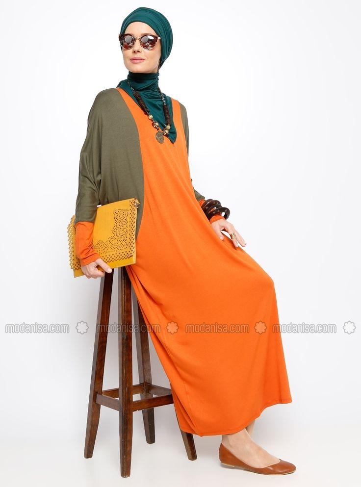 Bat Sleeve Tunic - Orange - Tunics - Modanisa