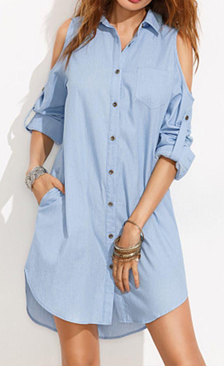 Blue Cold Shoulder Buttons Rolled Up Sleeve Shirt Dress