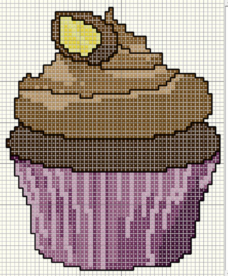 Milk Chocolate Cupcakes Free cross stitch pattern