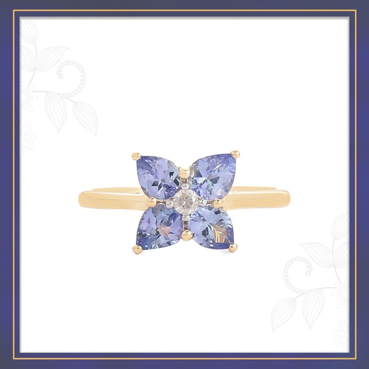 An attractive Tanzanite Ring from the 9KT Gold with diamond collection, set into 9k Hallmark Yellow Gold featuring beautiful Diamond   Shipping across India