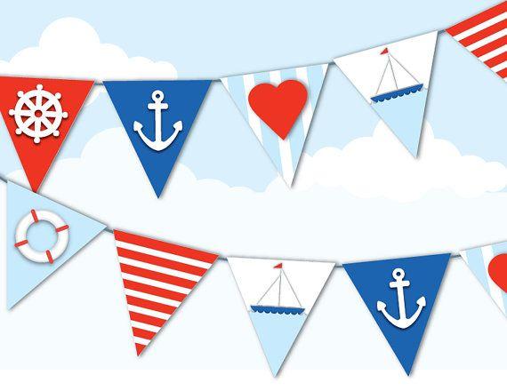 PRINTABLE NAUTICAL BUNTING Sailor Navy Theme Red by EmilyHingston, $5.00