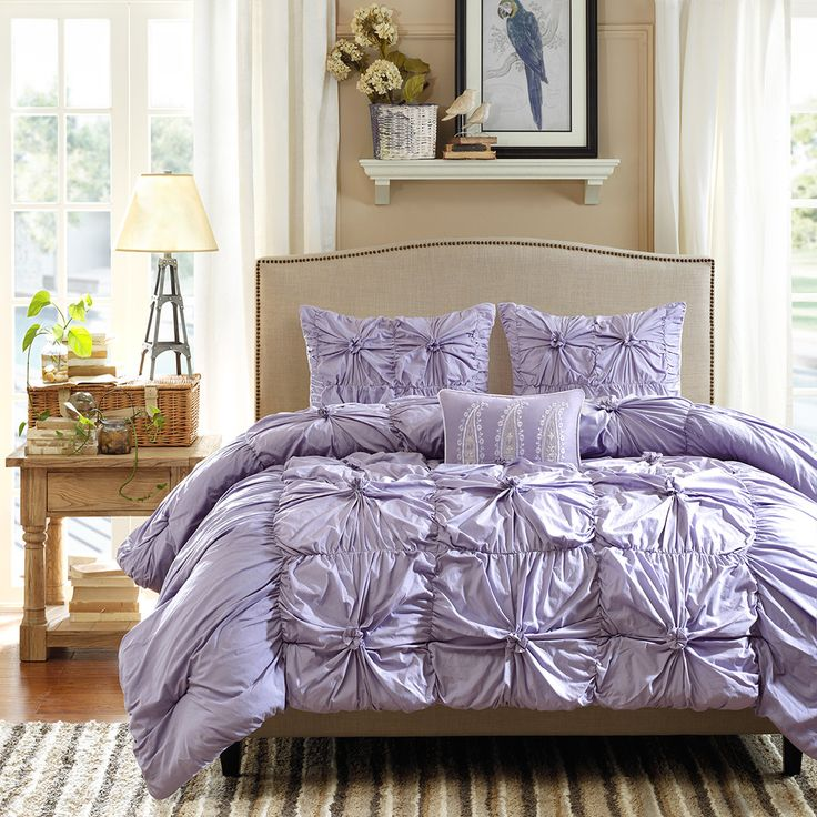 Light Purple Ruffled Bedding Set Purple