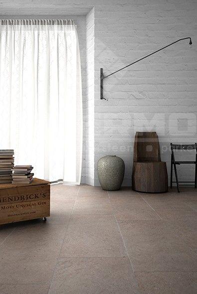 volkeramische vloertegel met licht reliëf en zachte schakering imitatie natuursteen