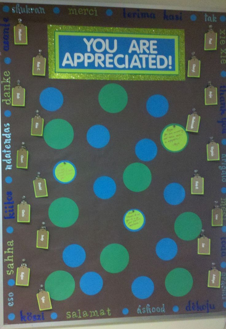 "Employee Appreciation Board! Around the edges are ""thank ..."