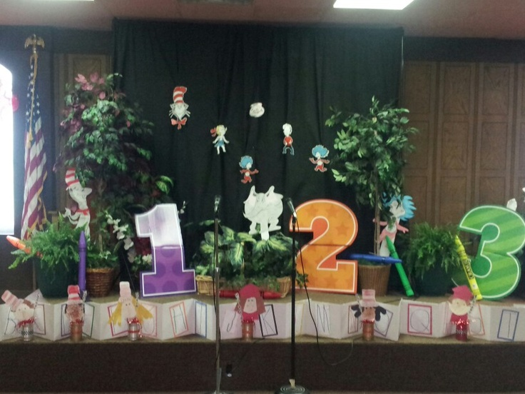 Our stage decorated for graduation with Dr. Seuss