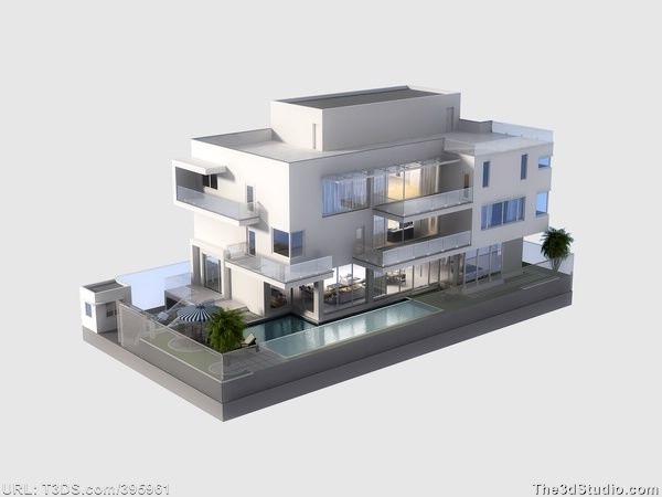 3d Models Luxury Contemporary House With Pool 3d Building Pinterest Models Houses With Pools And Pools