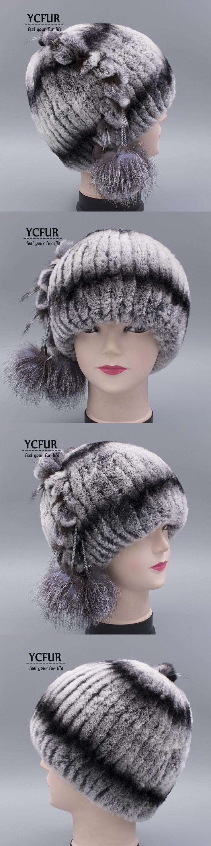 YCFUR Classic Style Hat Women Winter Caps Hats Stripes Rex Rabbit Fur Cap With Silver Fox Fur Trims Pom Beanie Hat chapeu