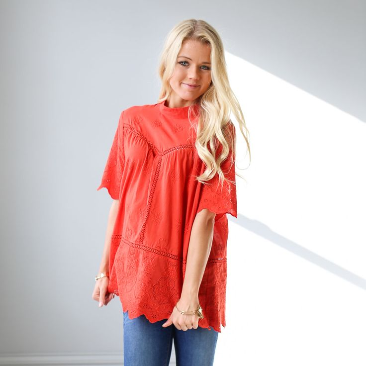"""Woven embroidery and lace inset top with 1/2 length sleeves  Approximate bust measurement:  Small - 44""""    Medium - 46""""    Large - 48""""  Approximate length:    All sizes - 28"""""""