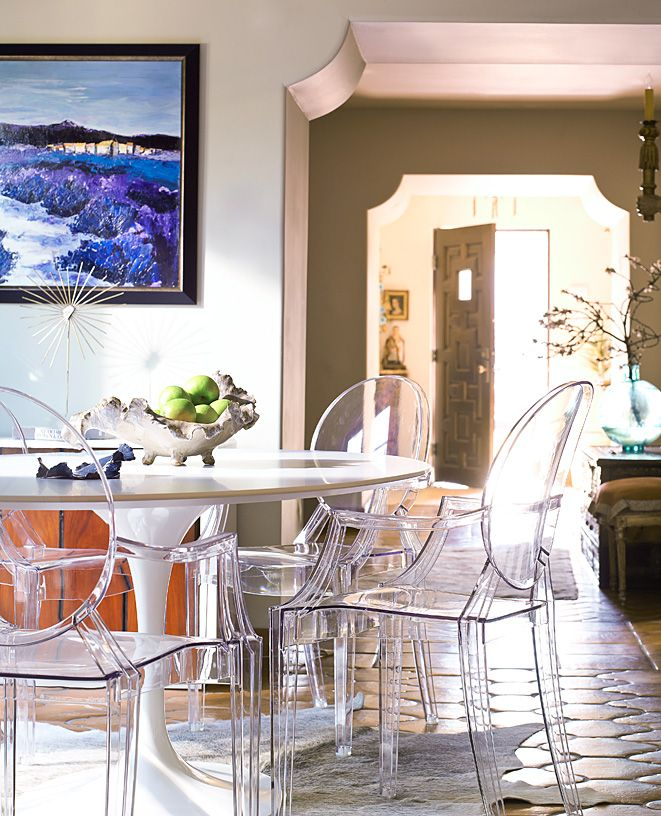 Breakfast nook with Kartell Ghost Chairs