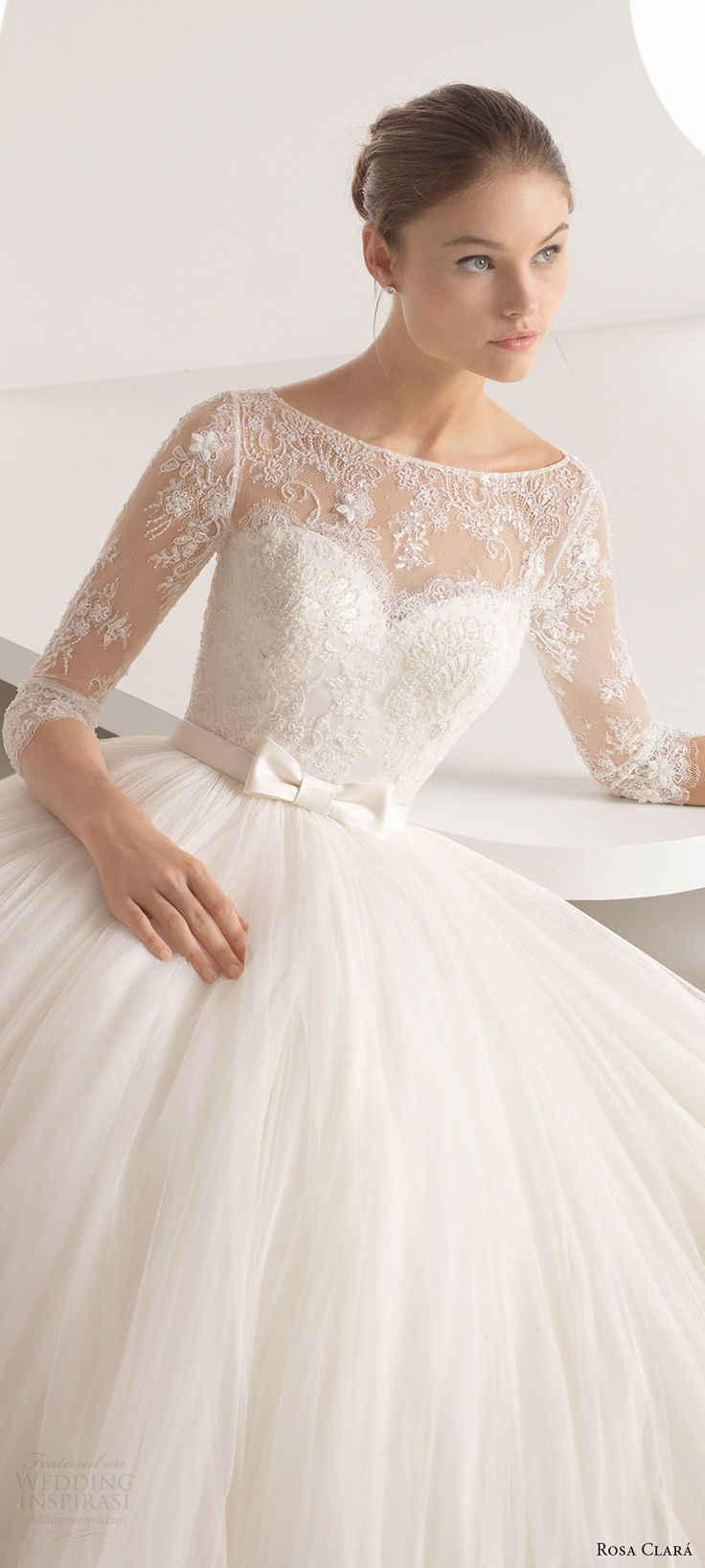 rosa clara 2018 bridal trends 3 quarter illusion sleeves bateau neck lace bodice ball gown wedding dress (alina) zv romantic princess -- 2018 Wedding Dress Trends to Love Part 2