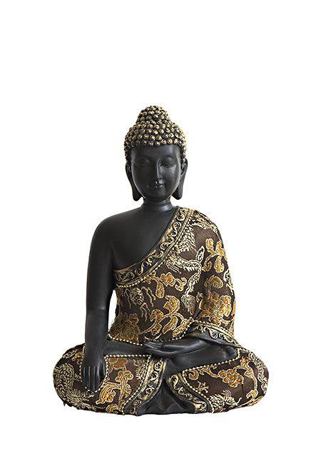 Handmatig uit polystone gegoten meditatie boeddha urn uit eigen import, zwart met oudgouden accenten, met 0.6 liter as-inhoud. Voor een klein deel van de as van een dierbare. De bekleding is gemaakt van echte, zachte stof. Met gouden bloemen, drakenmotieven en goudkleurige sierlint met balletjes. Deze urn heeft een afsluitbare en verlijmbare vulopening aan de onderzijde, met een dop