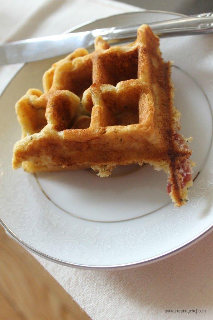 Cheesy Bacon Herb Cornbread Waffles