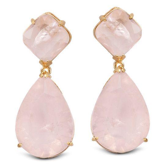 Brinco semi joia com banho de ouro 18k e quartzo rosa