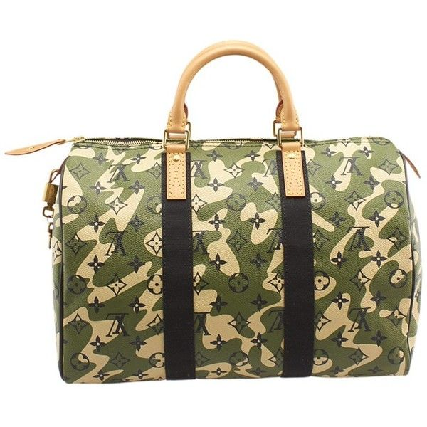 Pre-owned Louis Vuitton Speedy 35 Camouflage Monogram Coated Canvas... ($3,220) ❤ liked on Polyvore featuring bags, handbags, tote bags, brown, camouflage tote bag, brown tote bags, green tote bag, handbag tote and brown tote