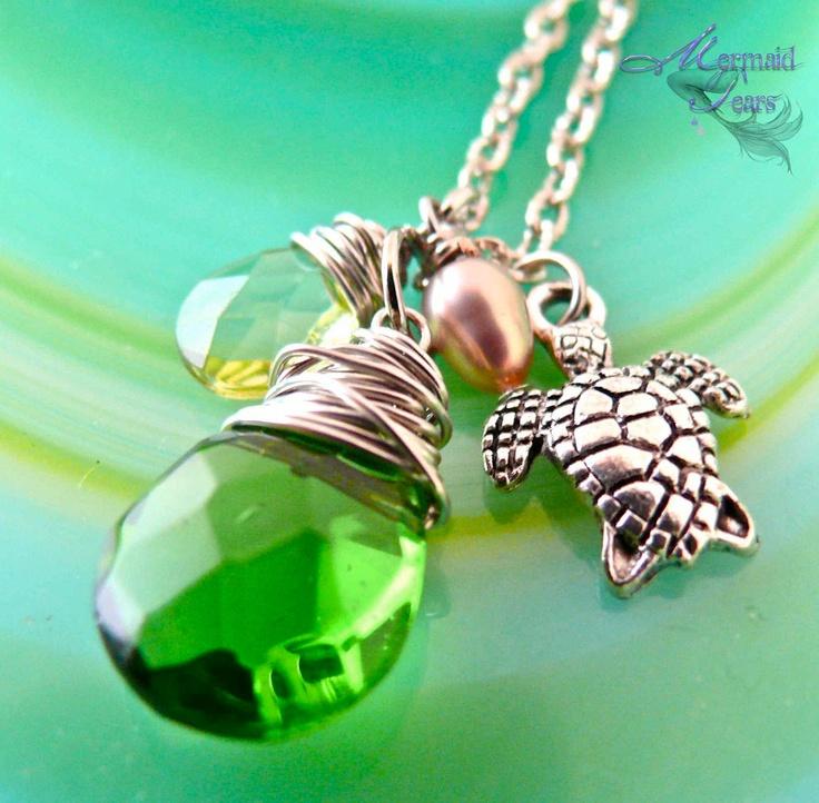 Sea Turtle Necklace Hawaiian Honu Jewelry by Mermaid Tears Hawaii. $25.00, via Etsy.