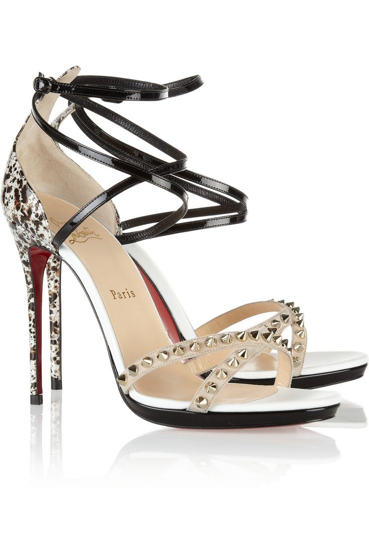 Black sandals louboutin - Christian Louboutin Monocronana 120 Studded Patent Leather Sandals