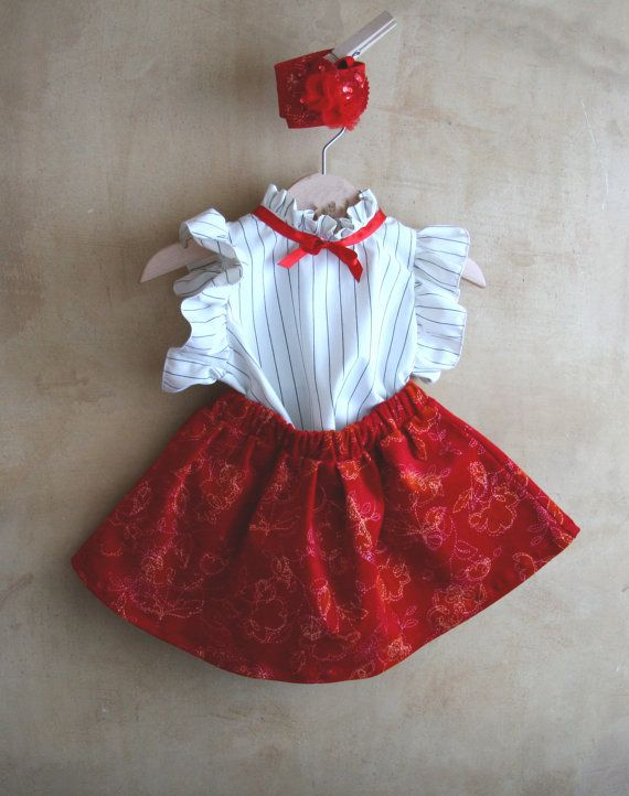 Christmas baby girl dress, toddler girl Christmas dress, red velvet set: top, skirt and headband