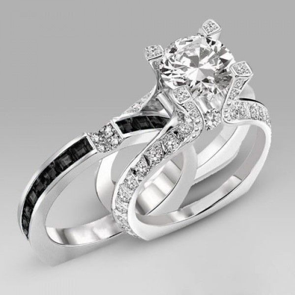 With Square Diamond Brilliant Cut Black Two In One Sterling Silver Engagement Ring Bridal Set