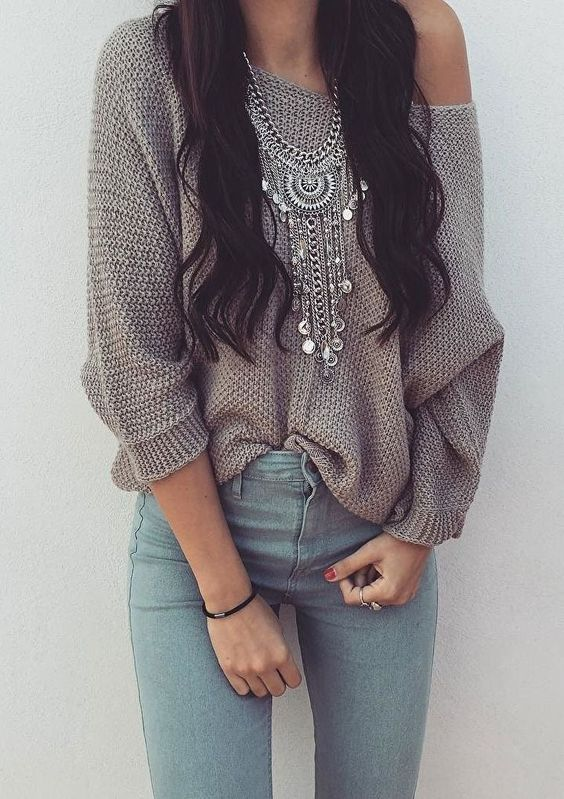 Statement Necklace,Gray Sweater,Jeans