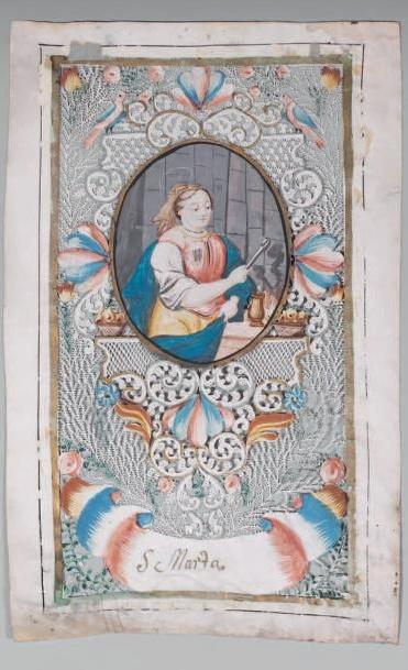 canivets de vélin à décor de fougères, rinceaux feuillagés, panaches et draperies: Santa Marta, Allemagne. Fin du XVIIIe siècle