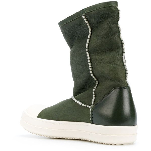 Rick Owens sneaker-style boots ($1,239) ❤ liked on Polyvore featuring men's fashion, men's shoes, men's boots, mens slip on boots, mens woven leather slip-on shoes, mens leather slip on shoes, rick owens mens shoes and mens round toe cowboy boots