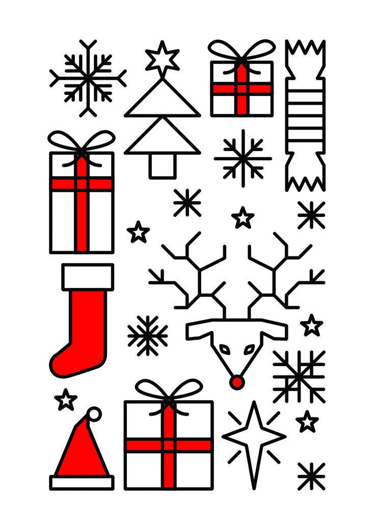 New #Christmas Card design for the Etsy store. #christmascards #greetingscard #stocking #santashat #santa #fatherchristmas #rudolph #reindeer #christmastree #snowflake #illustration #geometricchristmas #geometric #graphicdesign