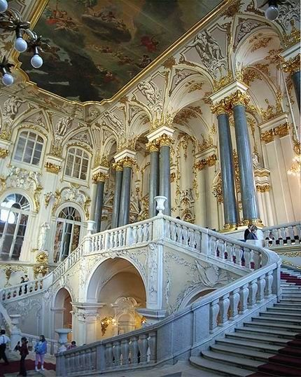 The Jordan Staircase of the Winter Palace, St. Petersburg, Russia by unknown photographer.