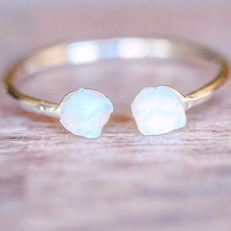 O P A L ♥️ Little Raw Opal Ring    Also comes in Gold and Rose Gold    Available in our 'NEW' and 'Gems and Stones' Collections    www.indieandharper.com