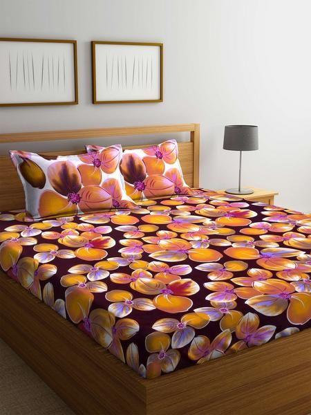 Buy Cotton Orange 120 TC Double Bedsheet with 2 Pillow Covers Online #cottonbedsheets #doublesizeddbedsheets #homefurnishing #bedsheets #homelinen #homedecor #quality #cottonbedsheets #pillowcovers #mafatlal