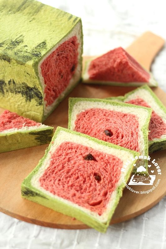 Watermelon bread (also leopard & giraffe bread examples on this page)