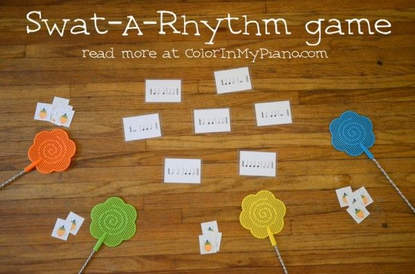 Swat-A-Rhythm Game (With Variations) - Students compete to be first to swat the correct rhythm they hear. This game is very flexible and can be used for practice many other concepts besides rhythm!