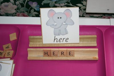 Spelling tray--- I LOVE this idea! Great for kids learning how to spell & even older ones to practice spelling words!!Kids Learning, Sight Words, Spelling Word, Scrabble Tiles, Words Work, Word Work, Spelling Trays, Spelling Practice, Scrabble Letters