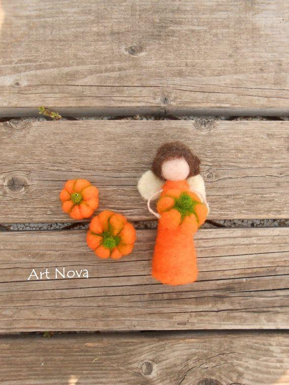 Felted fairy pumpkin  Waldorf Fairy  Halloween by FelThink on Etsy