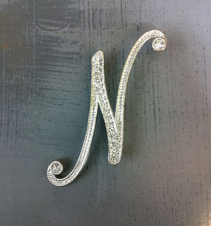 Vintage Napier Silvertone Letter N Brooch in Script Font with Rhinestones | $12.00
