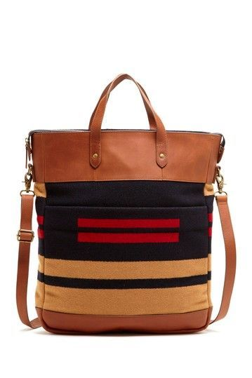 Leather and patterned tote - so good!