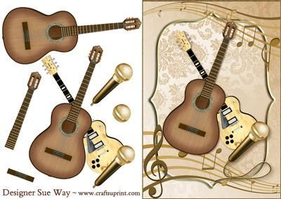 Feel the Music Card Front and Decoupage on Craftsuprint designed by Sue Way - The perfect card for a music lover or someone who is in a band or group. Whether they like pop, rock or blues, this card will suit them. With acoustic