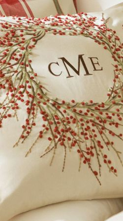 Berry Wreath Embroidered Pillow Cover ....  this would take time, but really simple to do...it would be faster to paint it all on, using stencils for the initials..
