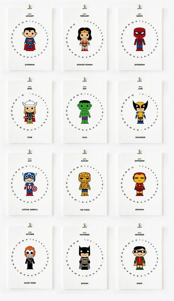 2012 Calendar Cute Superhero Printable PDF by loopzart on Etsy