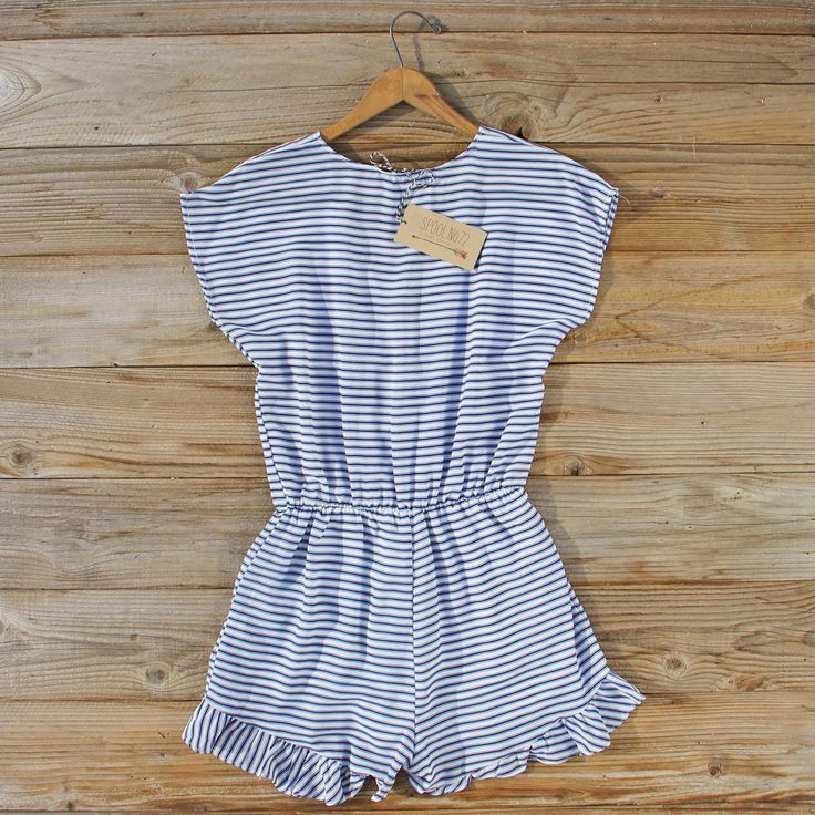 Lonely Fox Romper... sweet stripes pair with a ruffle hem for the perfect spring & summer romper!