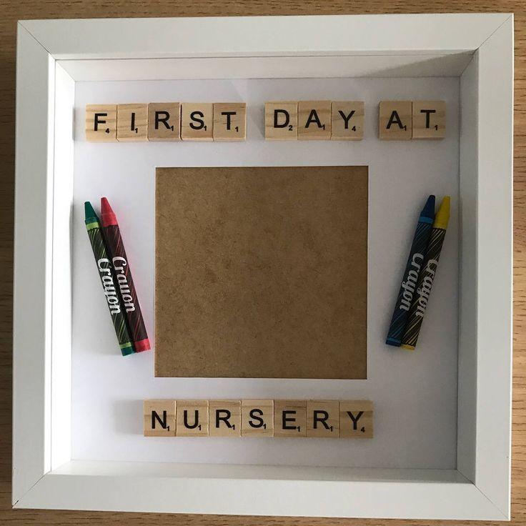 First day at nursery frame, preschool frame, nursery box frame, memory frame, keepsake frame, nursery keepsake, first day frame, scrabble by FrameitUnitedKingdom on Etsy