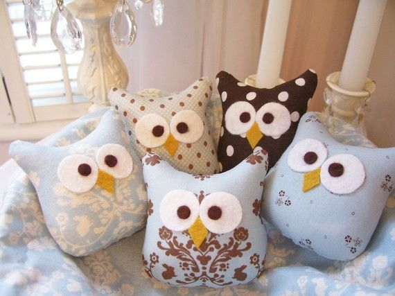 Reserved for schottc .....20 Darling Little Blue and Brown Owl Ornaments...Made with Lily and Will fabric...Soooo Cute