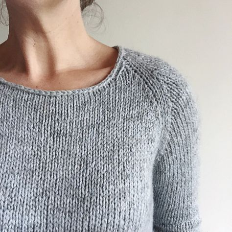 """I took part in the #LilaKAL that is going on at the moment. On My Making  List 2015 was a warm sweater for me and I decided that this would be a  quick way of getting it done. I held two yarns together - a strand of Pear  Tree 8ply seconds and a strand of Isager Tvinni. It gave me a gauge of 16  stitches rather than 19 which meant I got to knit the smallest size and  still get a 36"""" sweater. I used my bottom up/top down technique to get the  fit how I wanted it. The result is simple, warm…"""