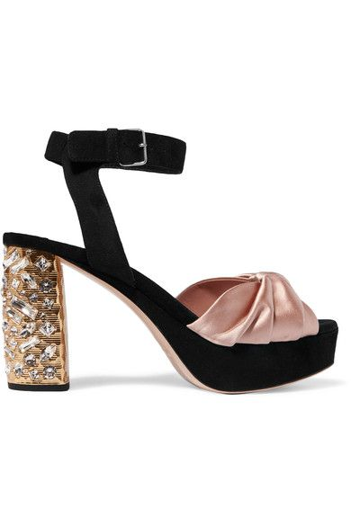 MIU MIU - Heel measures approximately 95mm/ 4 inches with a 20mm/ 1 inch platform Antique-rose satin, black suede  Buckle-fastening ankle strap  Made in Italy