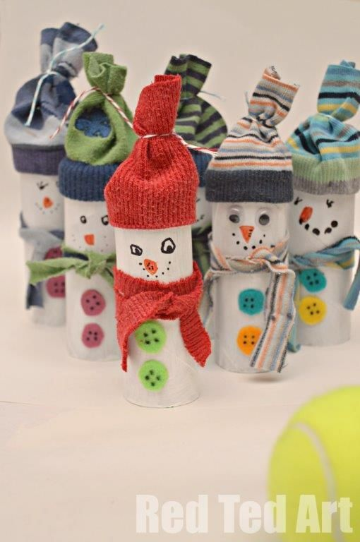 Toilet Roll and Odd Sock Snowmen. #kids #winter #crafts