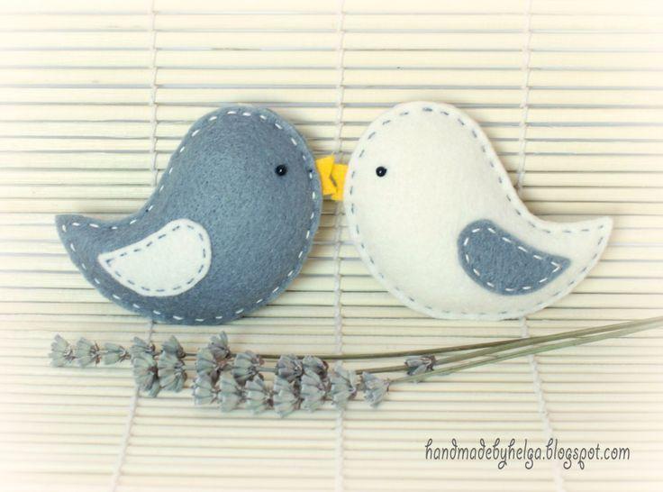Handmade by Helga: Four sets of felt birds